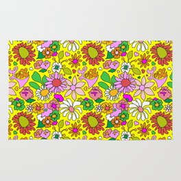 60's Lovers Floral in Sunshine Yellow Rug