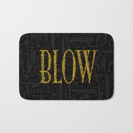 Blow BLACK & GOLD / Horn instruments forming type and background Bath Mat