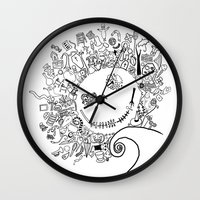 jack skellington Wall Clocks featuring Jack Skellington by Shepaki