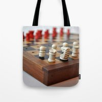 chess Tote Bags featuring Chess by Melancholy & Menace
