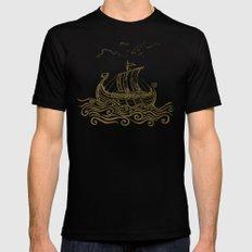 Viking ship MEDIUM Black Mens Fitted Tee