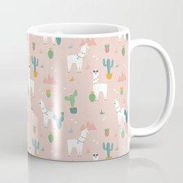 Summer Llamas on Pink Coffee Mug