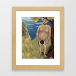 Censored Nude Bear Leaning on a Tree Framed Art Print