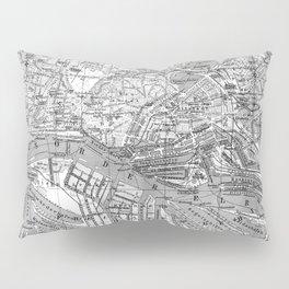 Vintage Map of Hamburg Germany (1910) 2 BW Pillow Sham