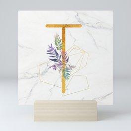 Modern glamorous personalized gold initial letter T, Custom initial name monogram gold alphabet prin Mini Art Print