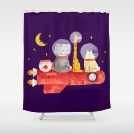 Let's All Go To Mars Shower Curtain