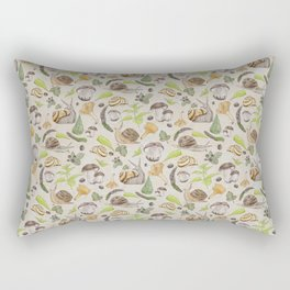 Woodland Snail in Watercolor Fungi Forest, Moss Green and Ochre Earth Animal Pattern Rectangular Pillow