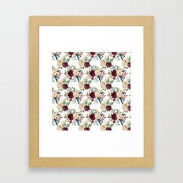 Burgundy ivory green watercolor boho floral pattern Framed Art Print