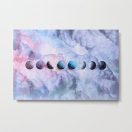 Moon Phases on Cloudy Blue Magic Sky #moontravel #decor #collage Metal Print
