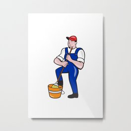 Janitor Cleaner Holding Mop Bucket Cartoon Metal Print