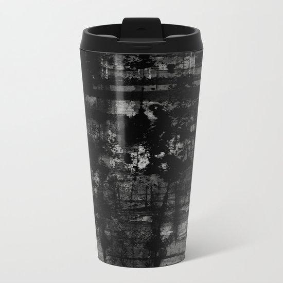 Into the Night - Black & White, textured abstract Metal Travel Mug