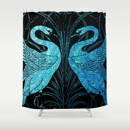 elegant art nouveau design, metallic teal & black, belle epoque,victorian design, original,beautiful Shower Curtain