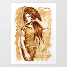A little Amy in my coffee Art Print