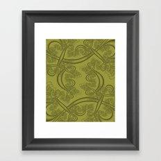 Golden Lime Fractal Framed Art Print