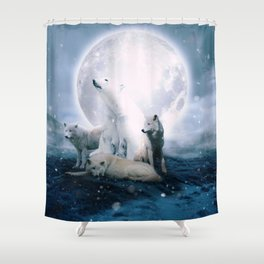Wolves and the polar bear by GEN Z Shower Curtain