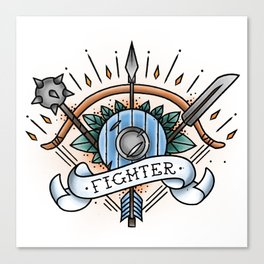 Fighter - Vintage D&D Tattoo Canvas Print