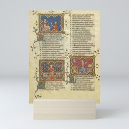Le ROMAN de la ROSE - The Romance of the Rose - Medieval Illuminated leaf - courtly literature - romantic  Mini Art Print