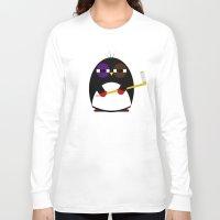 hockey Long Sleeve T-shirts featuring Hockey penguin by Jaxxx
