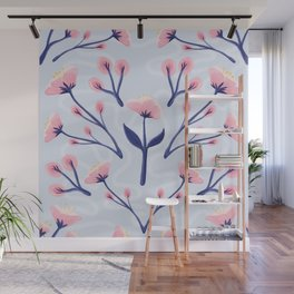 Mod Icy Pink Flowers Wall Mural