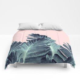 Blush Navy Blue Banana Leaves Dream #1 #tropical #decor #art #society6 Comforters