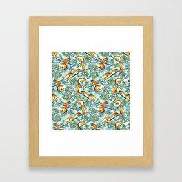 Oak Tree with Squirrels in Summer Framed Art Print