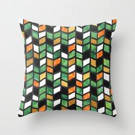 Herringbone Golden Jade Throw Pillow
