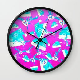 Pink and Sky blue holiday antlers and hat Wall Clock