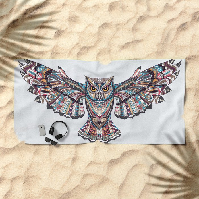 Colorful Ethnic Owl Beach Towel