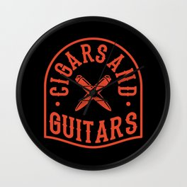 CIGAR AND GUITAR Music Aficionado Gift Cigar Smoker Wall Clock