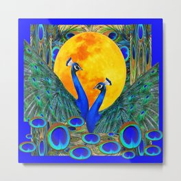 FULL GOLDEN MOON BLUE PEACOCK  FANTASY ART Metal Print