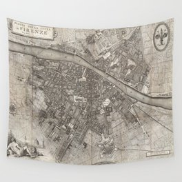 Vintage Map of Florence Italy (1847) Wall Tapestry