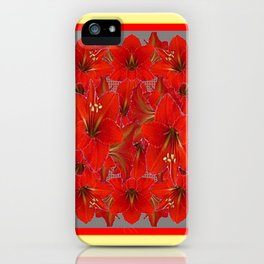 YELLOW COLOR RED AMARYLLIS FLOWER GARDEN  FLOWERS iPhone Case
