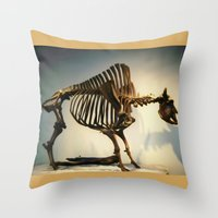 buffalo Throw Pillows featuring Buffalo by Mandy Chesnut