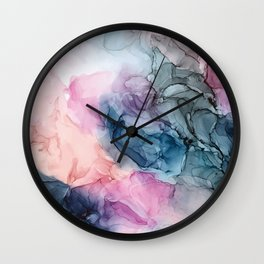 Heavenly Pastels: Original Abstract Ink Painting Wall Clock