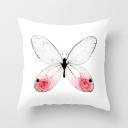 Rose Glasswing Throw Pillow