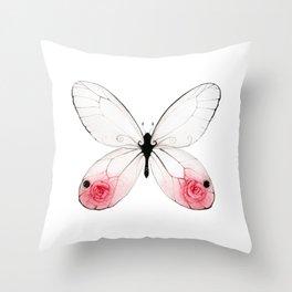 Rose Glasswing Throw Pillow