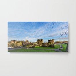 Caerphill Castle Panorama Metal Print