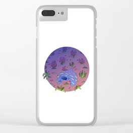 Manta Ray Color Circle Clear iPhone Case