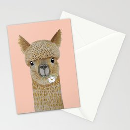 Watercolor llama with flowers pink Stationery Cards