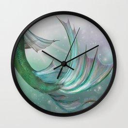 Mermaid, Ocean Sea, Pastel Purple,Teal, Green Wall Clock