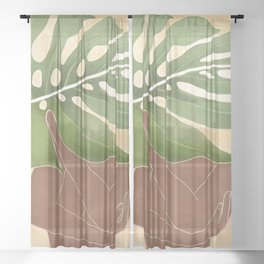 Woman with Monstera Leaf Sheer Curtain