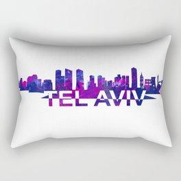 Tel Aviv Israel Skyline Scissor Cut Giant Text Rectangular Pillow