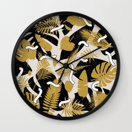 Tropical Jungle with Golden Leaves Wall Clock
