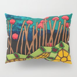 Bent Saplings Nature Center Architectural Illustration Pillow Sham