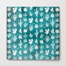 Cactus Pattern on Teal Metal Print