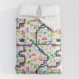 Busy City Streets Kids Watercolor Pattern Comforters