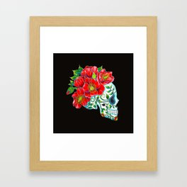 Sugar Skull with Red Poppies Framed Art Print