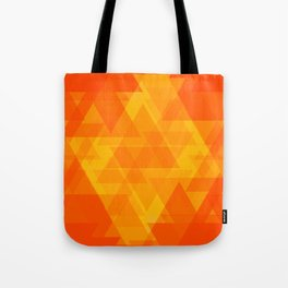 Bright orange and yellow triangles in the intersection and overlay. Tote Bag
