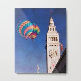 Embarcadero Clock Tower and Hot air Balloons Metal Print