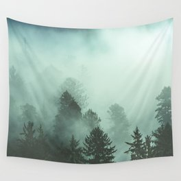 Magnificent Morning - Foggy Redwood Forest Nature Photography Wall Tapestry